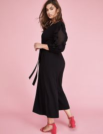 3/4 Sleeve Ruffle Jumpsuit by Lane Bryant at Lane Bryant
