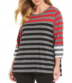 3/4 Sleeve Striped Tee by Calvin Klein at Dillards