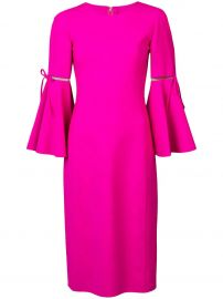 3 4 Flutter Sleeved Pencil Dress Oscar de la Renta at Farfetch