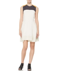 31 Phillip Lim Colorblocked Silk Dress Bone at Neiman Marcus