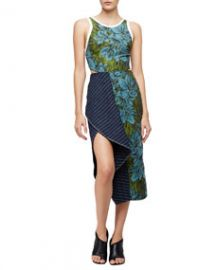 31 Phillip Lim Sleeveless Floral Dress w Striped Trim LeafHydro at Neiman Marcus