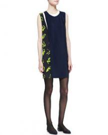 31 Phillip Lim Sleeveless Print-Paneled Shift Dress at Neiman Marcus