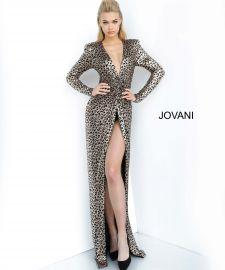 3171 Print Ruched Bodice Prom Dress at Jovani