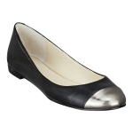 Silver capped black flats at Ninewest