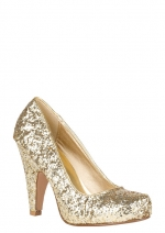 Gold glitter shoes at Delias
