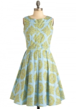 Blue and yellow dress at Modcloth