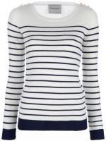Serena's white and navy blue striped sweater at Farfetch