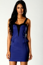 Blue and black bodycon dress at Boohoo
