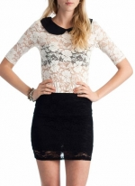 Lace top with collar at Go Jane