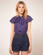 Purple pussybow blouse like Annies at Asos