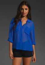 Blue button down blouse like Robins at Revolve