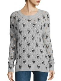 360 Cashmere - Avril Burnout Skull Sweater at Saks Fifth Avenue