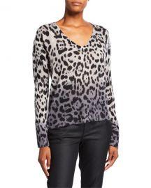 360Sweater Lauren Leopard-Print Ombre Cashmere Sweater at Neiman Marcus