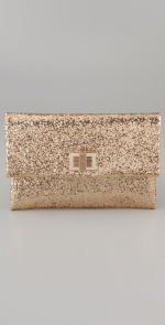 Gold glittery clutch like Lemons at Shopbop