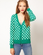Green and white cardigan at Asos