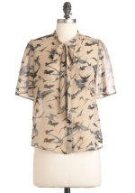 Bird print blouse like Annies at Modcloth