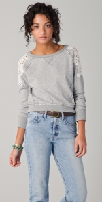 Grey sweater with lace details at Shopbop
