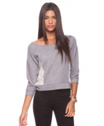 Grey sweater with lace details at Forever 21