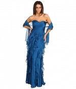 Blue ruffle gown at Zappos