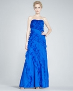 Blue ruffled gown like Emilys at Neiman Marcus