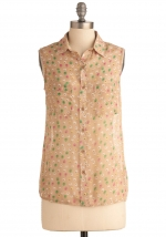 Collared patterned shirt like Spencers at Modcloth