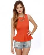 Orange peplum top (Lulus has heaps!) at Lulus