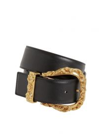 40mm Leather Belt with Gold Buckle by Versace at Luisaviaroma