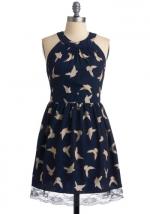 Bird print dress at Modcloth