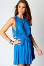 Blue fringe detail dress at Boohoo