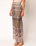 Patterned maxi skirt at Asos