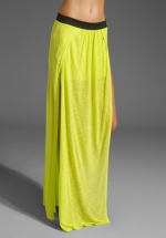 Lime maxi skirt with split at Revolve