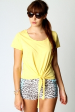 Yellow tie front top like Emilys at Boohoo