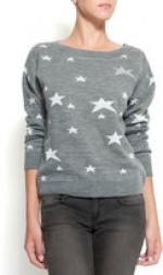 Grey stars sweater at Mango