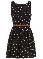 Black polka dot dress at Dorothy Perkins