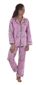 Pink Eiffel Tower print pajamas at Amazon