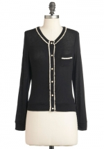 Black cardigan with white trim at Modcloth