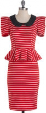 Sugar's red peplum dress at Modcloth