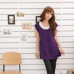 Purple shift dress with white collar at Yes Style