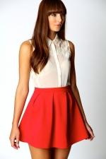 Red mini skirt at Boohoo
