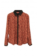Rust coloured long sleeve blouse at Romwe