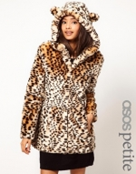 Leopard coat with ears at Asos