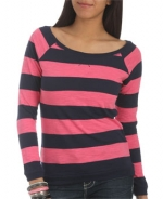 Pink and blue striped longsleeve top at Wet Seal