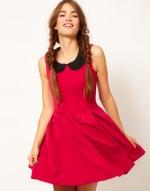 Pink dress with black peter pan collar at Asos