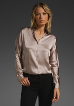 Metallic button down blouse like Robins at Revolve
