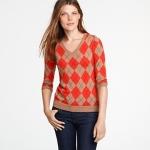 Orange argyle sweater at J. Crew