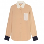 Beige blouse with contrasting collar and pocket at My Theresa