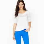 White lace tshirt like Robins at J. Crew