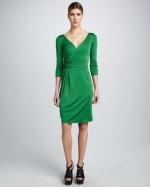 Green wrap dress like Robins at Neiman Marcus