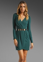 Green wrap dress like Robins at Revolve