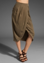 Olive green tulip skirt that Robin wore at Revolve